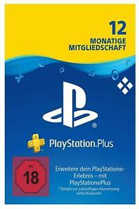 DE Playstation Plus 12 Monate Mitgliedschaft 365 Tage PSN 1 Jahr PS4 PS3 CODE