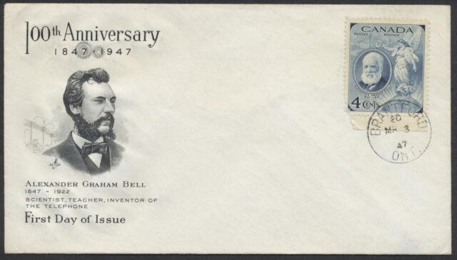 1947 #274 Alexander Graham Bell FDC, Art Craft Cachet, Brantford Ont