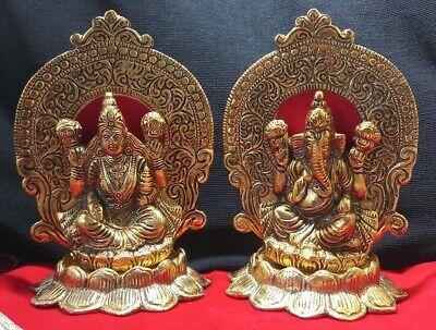 Ganesha Lakshmi Laxmi Ganesh White Metal Gold Plated Statue Idol