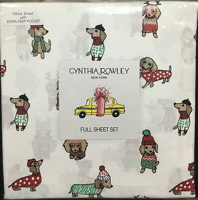Cynthia Rowley Dachshund Doxie Winter Christmas Sweater QUEEN Sheet Set