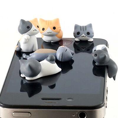Cute 6pcs Cat 3.5mm Anti Dust Earphone Jack Plug Stopper Cap For Mobile phone