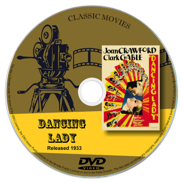 Dancing Lady 1933 DVD Label Joan Crawford, Clark Gable - Comedy Musical Romance