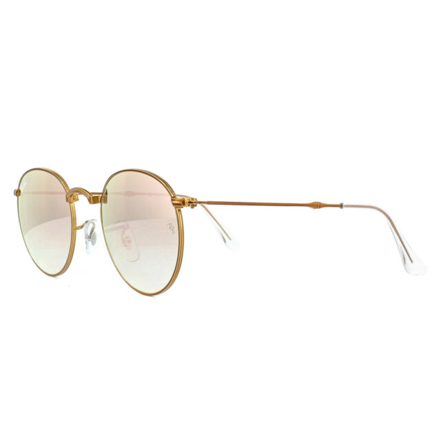 08920ce316 Ray-Ban Round Metal Folding RB 3532 197 7y Bronze Sunglasses Copper Flash  47mm