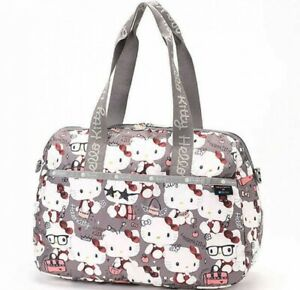 Hello-Kitty-LeSportsac-45th-Anniv-2Way-Travel-Bag-HARPER-BAG-Gray-From-Japan-EMS