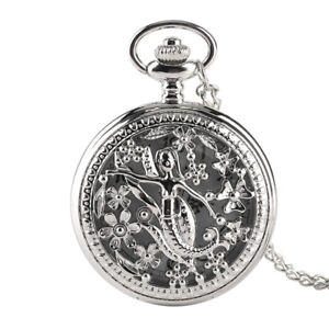 Princess-Mermaid-Silver-Necklace-Hollow-Quartz-Pocket-Watch-Child-Girl-Gift