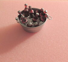 METAL TUB WITH 10 COCA-COLA BOTTLES ON ICE   1:12-1:18 SCALE DIORAMA NEW !