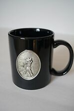 Black Ceramic Mug with Pewter Medallion of Lady Golfer 10 oz.