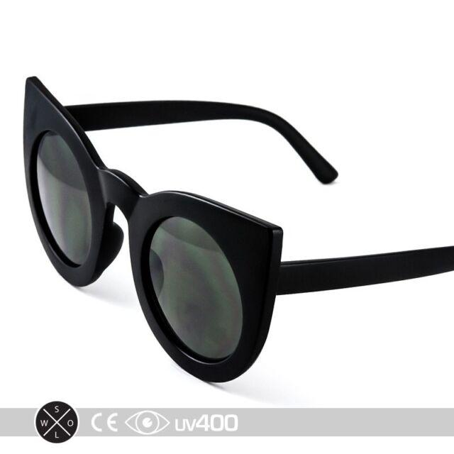 Matte Black Frame Fashion Round Half Frame Cateye Sunglasses Cat Eye S263