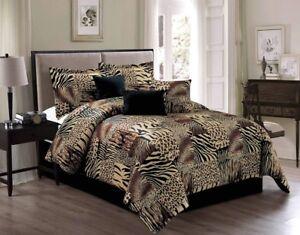 Details about Brown Beige Black White Zebra Leopard Tiger Animal Print  Comforter Set CAL KING