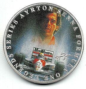Ayrton-Senna-Lewis-Hamilton-Silver-Coin-Autographed-Formula-1-Motor-Car-Racing