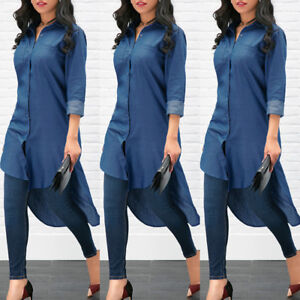 Women-039-s-Blue-Denim-T-Shirt-Jeans-Long-Sleeve-Casual-Loose-Shirt-Mini-Dress