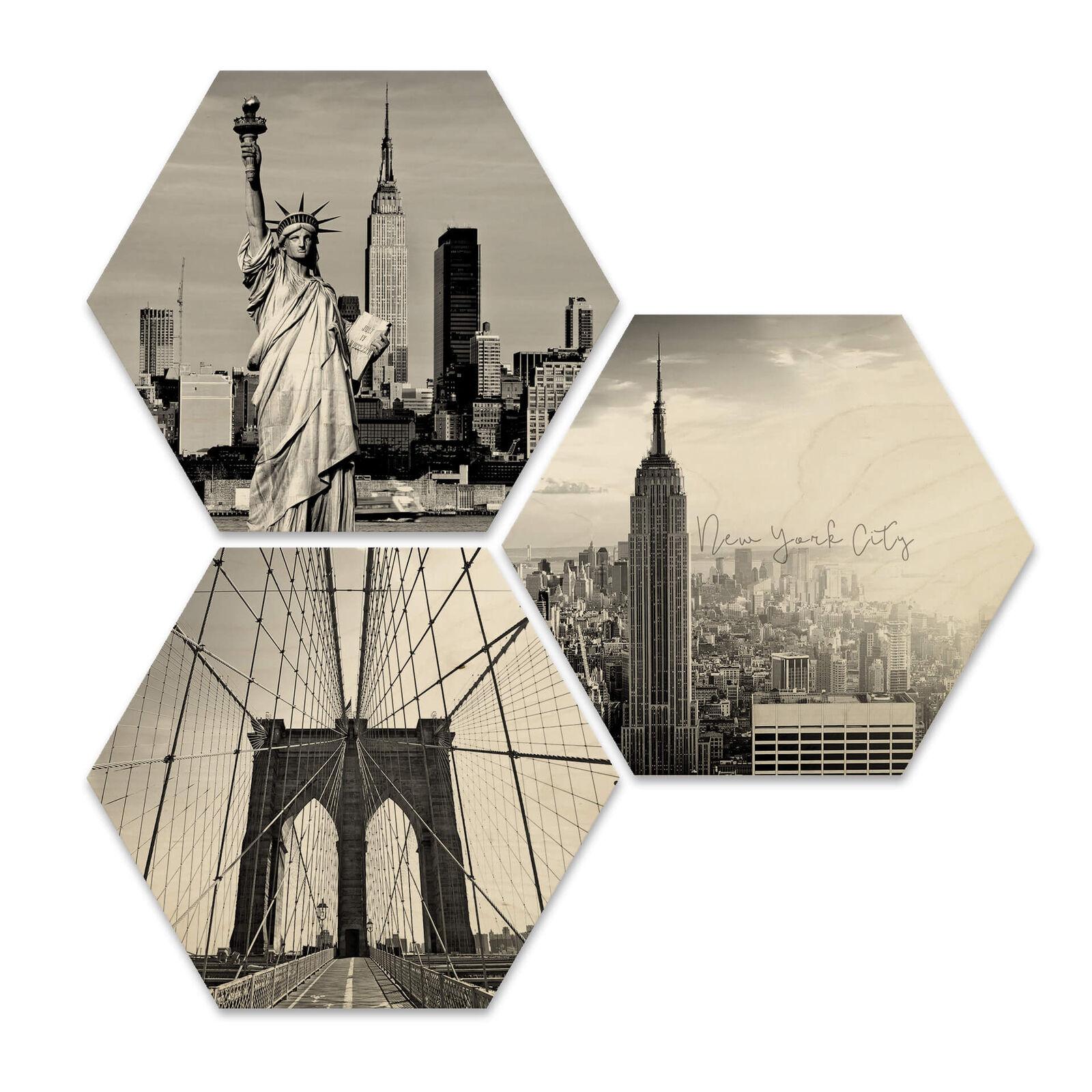 Hexagon-Bois Le bouleau-Placage-Impression of New York City (3er Set) la fresque