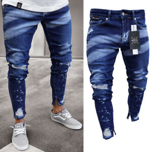 Stylish-Men-039-s-Ripped-Skinny-Jeans-Destroyed-Frayed-Slim-Fit-Denim-Pants-Trousers