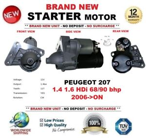 FOR-PEUGEOT-207-1-4-1-6-HDi-68-90-bhp-2006-ON-NEW-STARTER-MOTOR-1-4-kW-11Teeth