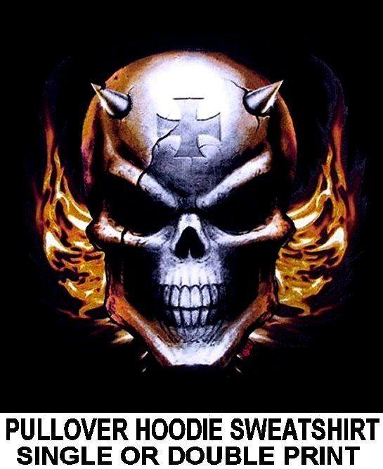 DEVIL DEMON SKULL HORNS SPIKES EVIL FLAMES MALTESE CROSS HOODIE SWEATSHIRT XT22