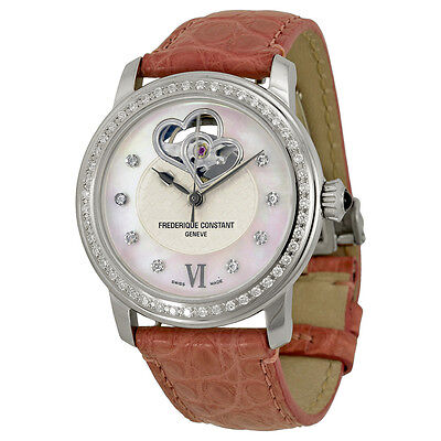 Frederique Constant White Guilloche Mother of Pearl Leather Ladies Watch