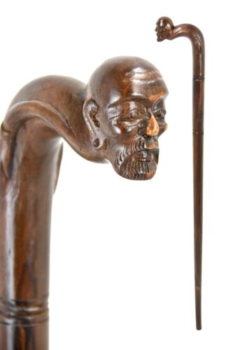 BEARDED MAN wooden walking stick cane BOXED item hand carved from hardwood
