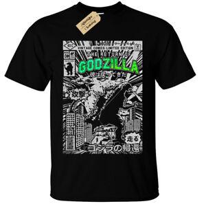 Kids-Boys-Girls-GODZILLA-Mens-T-Shirt-SCREEN-PRINTED-Retro-Comic-dinosaur-gift
