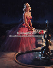 Girl in Evening Dress Glamour Art Frahm Rose Brunnen Kunst Pin Up Platte 074