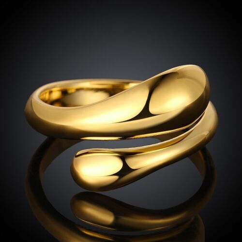 Reino Unido Vendedor Oro Amarillo De 18k Plateado Gota De Agua anillo de joyería