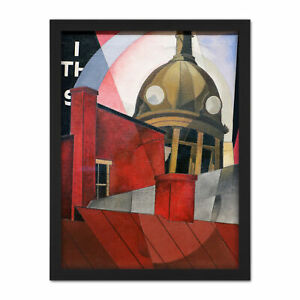 Demuth-Welcome-City-Red-Tower-Painting-Large-Framed-Art-Print
