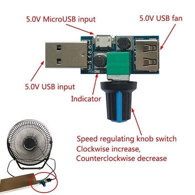 USB Fan Speed Controller DC 4V-12V 5W Multi-Gear Mute Auxiliary Cooling Tool H$