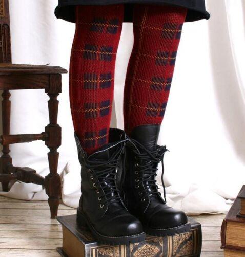 Punk Preppie School Uniform Thermal Leg Warmer Bright Red Tartan Plaid Check