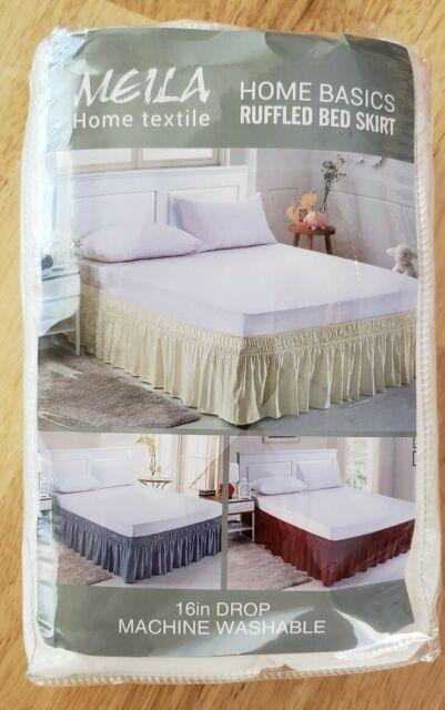 Meila Home Textile Basics Queen, Queen White Bed Skirt 16 Drop