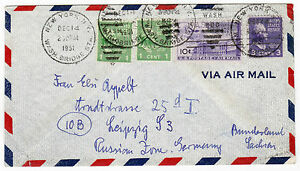 USA-1951-Lupo-Mif-Letter-Air-Mail-New-York-Germany-Leipzig-Russ-Zone-TB-2274