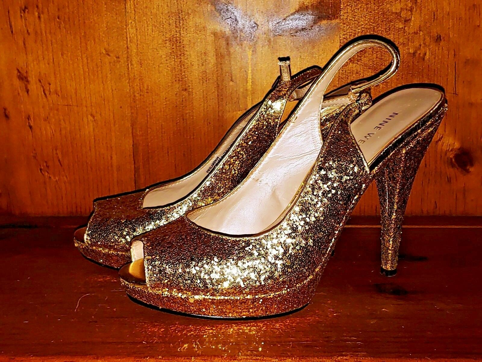 NINE WEST All All All That Glitter is gold Slingbacks High Heels Women shoes Sz 7.5 b4 74a16c