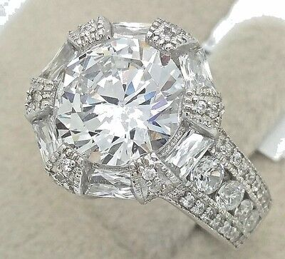 Women/'s Ladies Real 925 Sterling Silver Signity Solitaire Cubic CZ Promise Ring