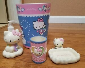 sanrio Hello Kitty Angel 4 piece bathroom set trash bin soap dispenser dish cup