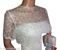Womens Ivory Or White Short Sleeve Lace Bridal Bolero/shrug Size 8 To 18
