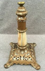 Antique-french-lamp-base-19th-century-Empire-style-regule-gold-tone-on-marble