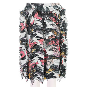 Dries-Van-Noten-Black-Pink-Floral-Frill-Detailed-Pencil-Skirt-FR40-UK12