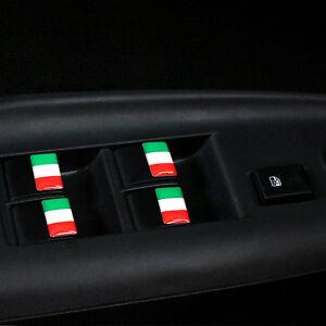 X4-Italia-Bandera-3D-Domo-Pegatinas-Aleacion-Logotipo-para-Alfa-Romeo-Fiat-500