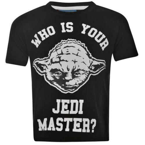 Bnwt Ragazzi Ufficiale con Licenza Disney STAR WARS T-SHIRT 3-8Y Yoda Jedi Master Nero