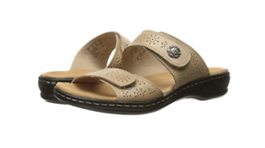 NEW CLARKS LEISA LACOLE SAND LEATHER STRAPPY SLIDE SANDALS WOMENS 9 FREE SHIP
