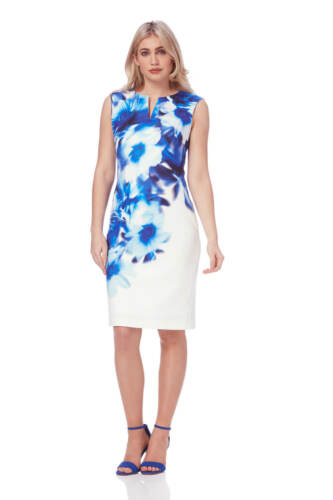 Roman Originals Bleu Femme Abstract Imprimé Floral Robe Taille 10-20