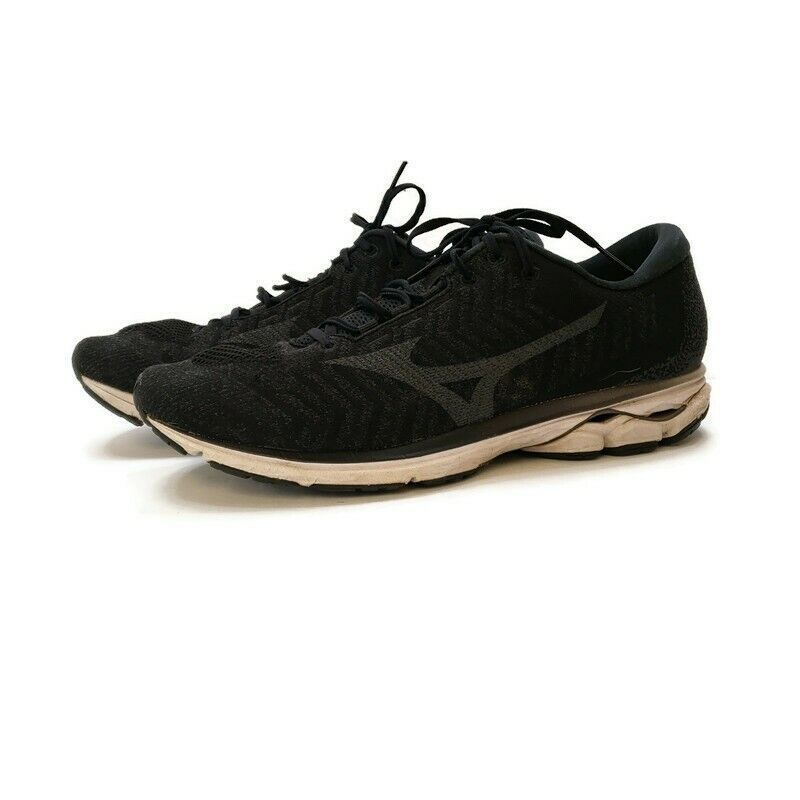 Mizuno Mens Wave Rider Athletic Running Shoes Size 12.5 Black White Active
