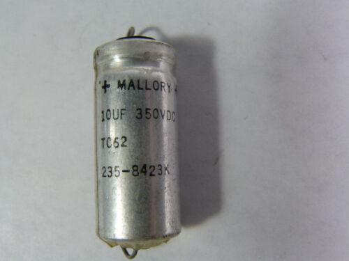Mallory TC62//235-8423K Capacitor 10uf 350VDC  USED