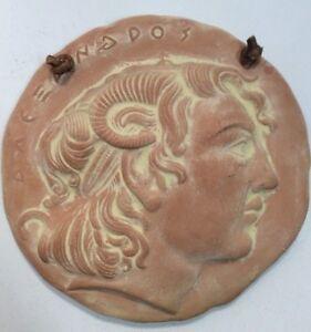 Image is loading Clay-Ceramic-Greek-Medallion-6-Round-Decorative-Wall- & Clay Ceramic Greek Medallion 6u201d Round Decorative Wall Art ...
