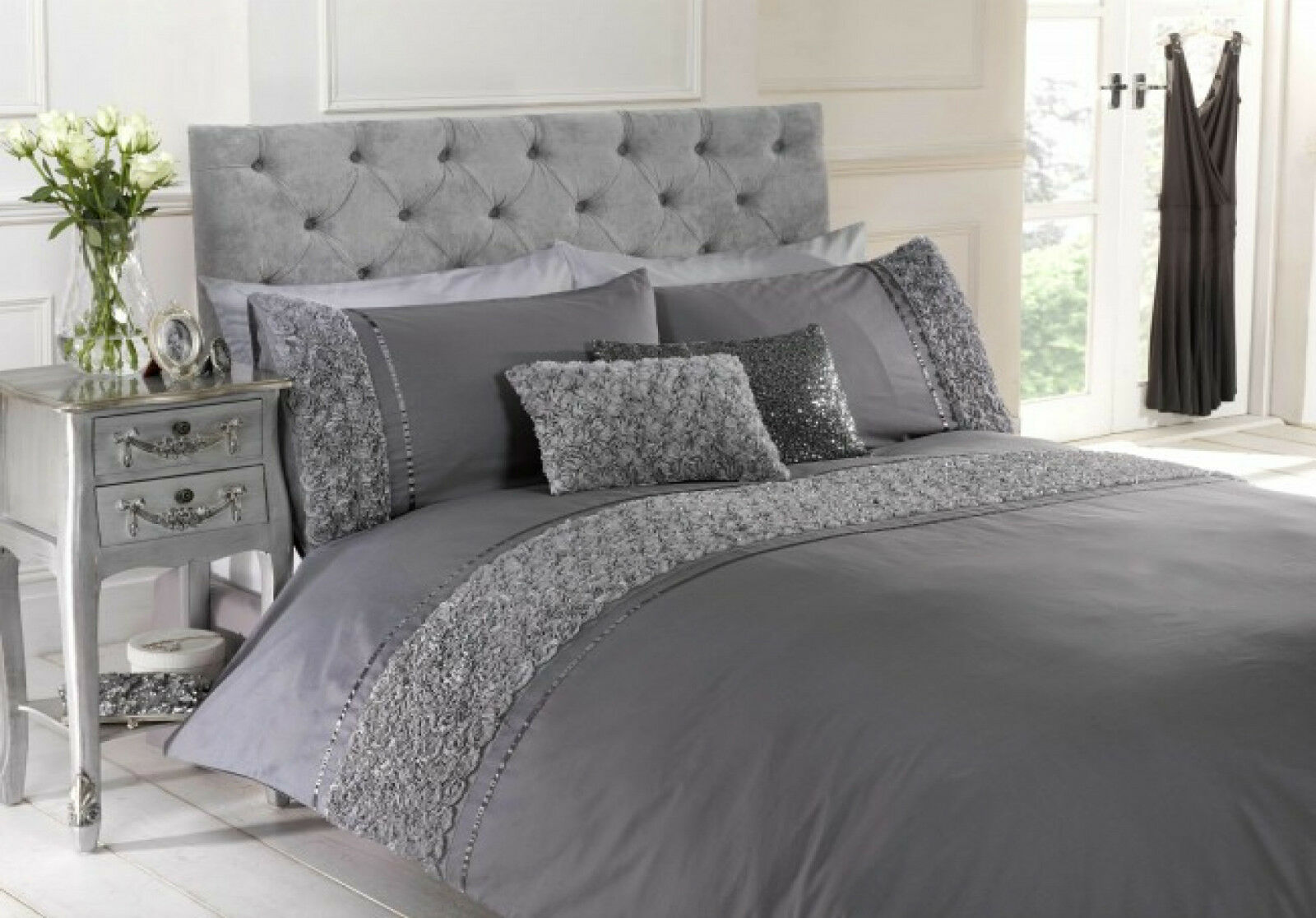 Duvet Quilt Cover Bedding Set & Pillowcases Stylish Luxury Embellished Grey pink