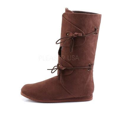 Black Scottish Groomsmen Wedding Medieval Peasant Pirate Costume Boots Shoe Mens