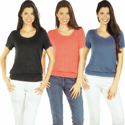 Damen T-Shirt Oberteil Sommer Classic Basic kurzarm elastisch Viskose Alltag