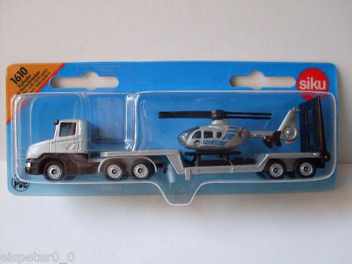 Art.1610 OVP Tieflader mit Hubschrauber Neu Siku Super Serie