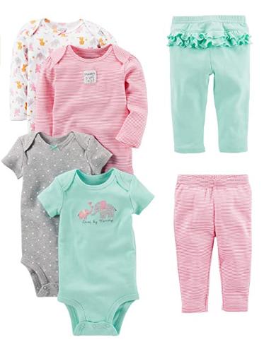 Ropa De Bebe Para Recien Nacido Set 4 Bodys 2 Pantalones Ninas 0 24 Meses Suaves Ebay
