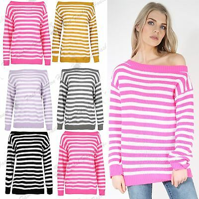 Angemessen Womens Off The Shoulder Bardot Stripe Jumper Ladies Baggy Long Sleeve Sweater Modische Und Attraktive Pakete