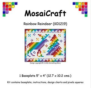 MosaiCraft-Pixel-Craft-Mosaic-Art-Kit-039-Rainbow-Reindeer-039-Pixelhobby