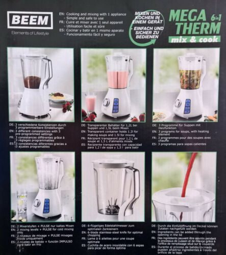 Beem Megatherm Mix /& Cook 6 in 1 Küchenmaschine Smoothie Maker